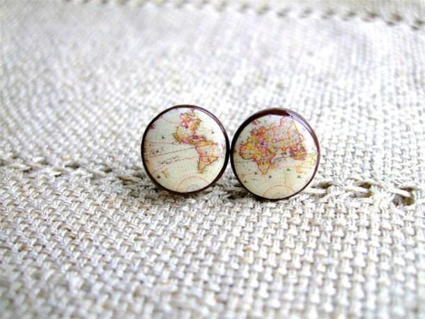 jewels earrings studs earings girly tumblr girl map print map studded earrings