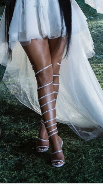 shoes white silver bling high heel sandals knee high gladiator sandals gladiators nicki minaj nicki minaj collection