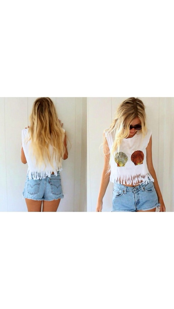 shirt crop tops fringes t-shirt no sleeve cute