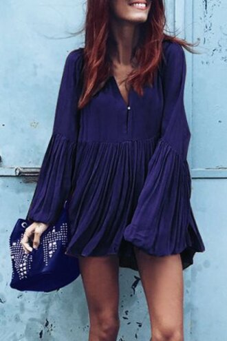 dress blue fashion long sleeves boho stylish plunging neck long sleeve solid color pleated women's mini dress style gypsy summer
