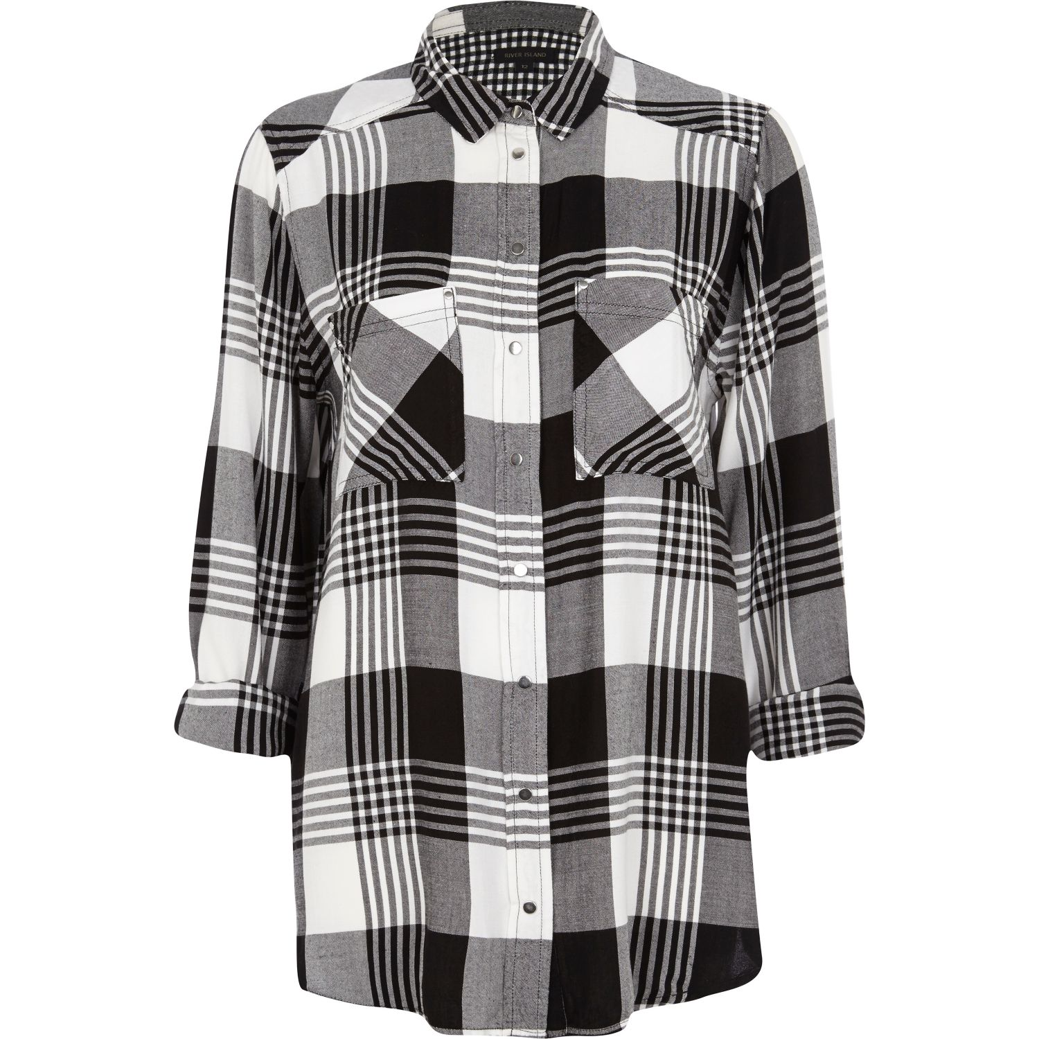 Black and white check oversized shirt