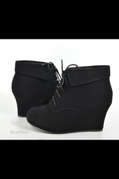 shoes,wedges,black,booties,lace up,black short boots lace up,shorts