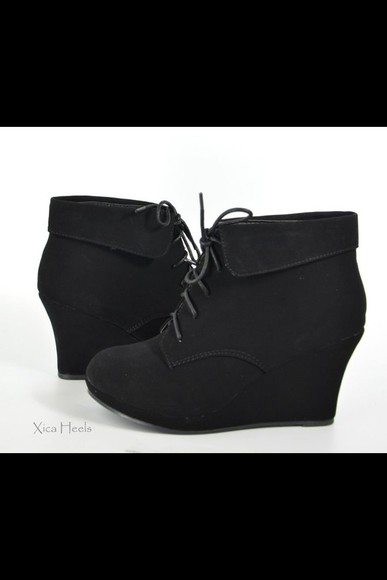 shoes lace up black wedges booties