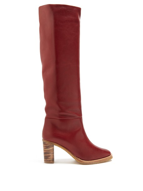 Gabriela Hearst knee-high boots high leather burgundy shoes