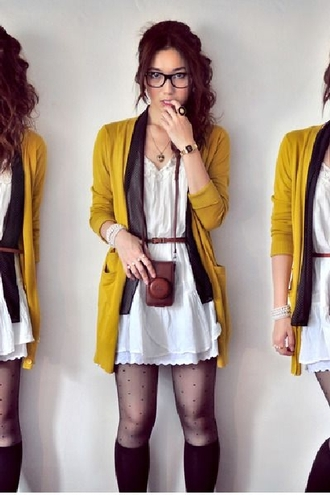 cardigan mustard yellow polka dot skinny scarf brown waist belt white off-white eyelet dress leather camera hipster vintage heart necklace nerd glasses librarian black frame retro tights pantyhose knee high socks sunglasses phone cover