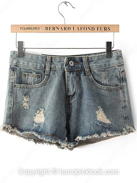 Light Blue Ripped Denim Skinny Shorts - HandpickLook.com