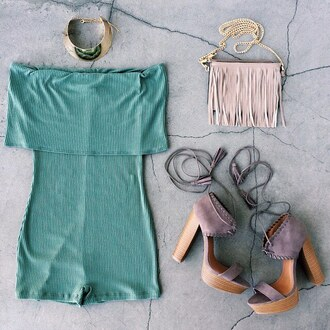 romper bodysuit gojane chunky heel off the shoulder chunky sole