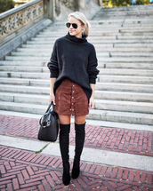 socks,black sweater,tumblr,knit,knitted sweater,turtleneck,turtleneck sweater,skirt,mini skirt,button up,boots,black boots,over the knee,fall outfits,suede skirt,shoes