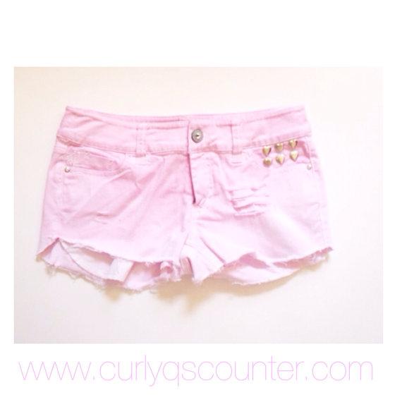 Womens denim pink shorts
