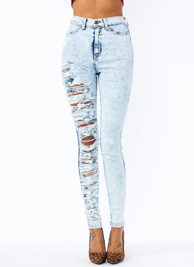 Destroyed-Acid-Wash-Jeans LTBLUE DKBLUE - GoJane.com