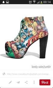 shoes,marvel,platform lace up boots