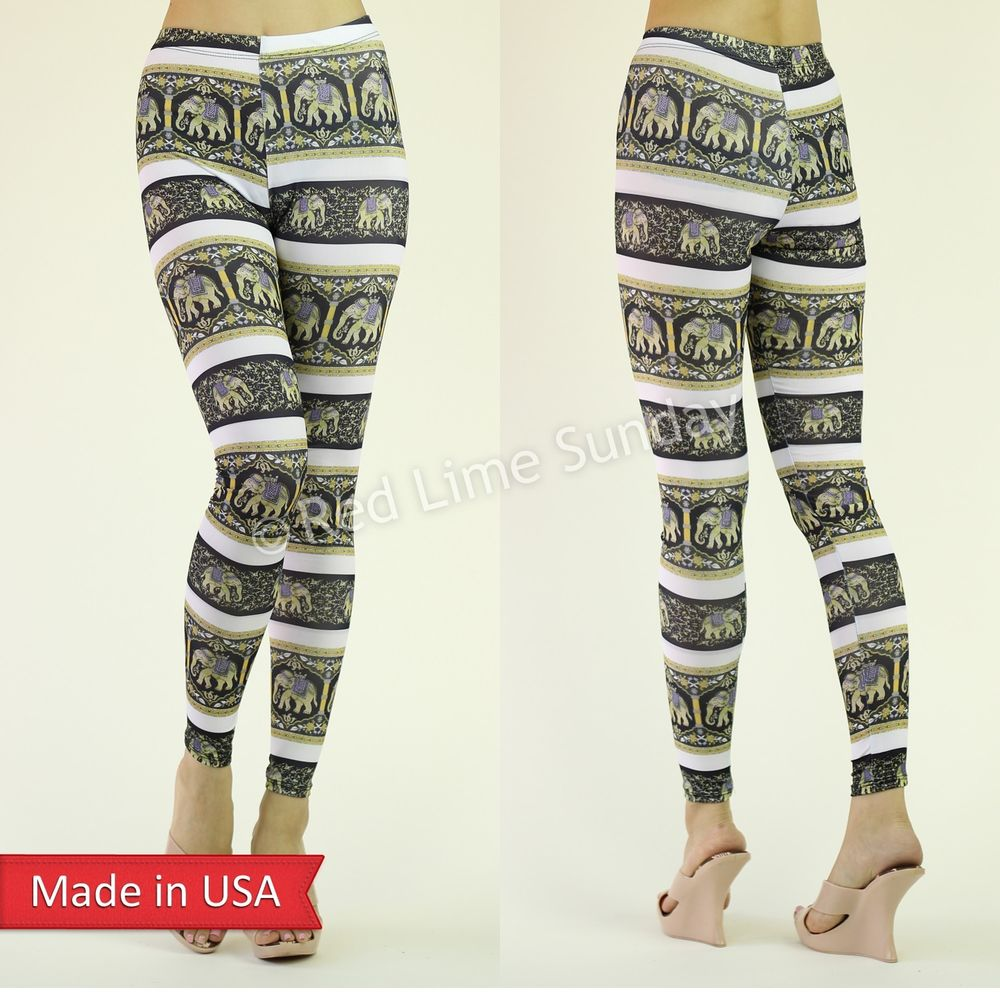 New Women Animal Pattern Thai Elephant Asian Print Leggings Tights Pants USA