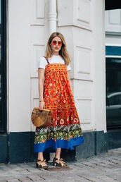 le fashion image,cardigan,dress,t-shirt,bag,sunglasses,blogger,cult gaia bag,embroidered dress,dress over t-shirt,summer outfits,gold shoes