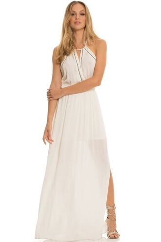 dress maxi dress slit white