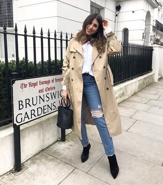coat camel coat white shirt boots black boots bag trench coat shirt blue jeans denim jeans handbag