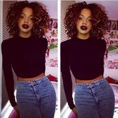 t-shirt,jeans,make-up,shirt,curly hair,sensual sierra,skirt,black girls killin it,vintage high waisted acid wash jeans,black,long sleeves,crop tops,tight,crop-top sweater,everyday outfit,sweater,black sweater,cropped sweater