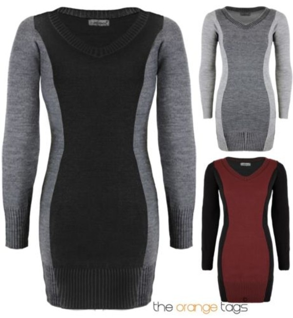 dress ladies women v neck knitted dress long sleeve dress top dress panel color black wine grey white trendy casual smart