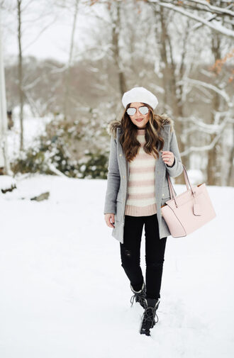 dress corilynn blogger sweater jeans shoes coat bag jewels winter outfits boots beret black jeans