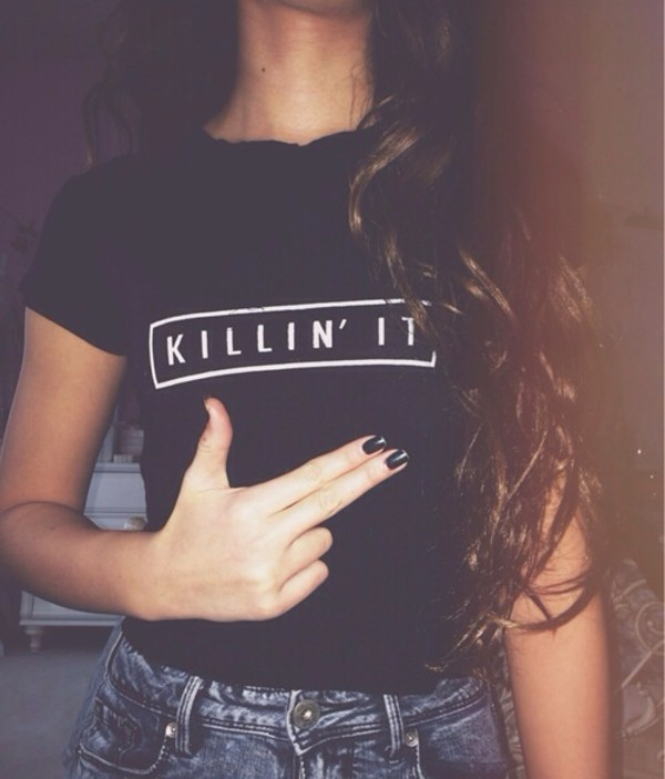 top t-shirt black black top killin it tumblr swag white