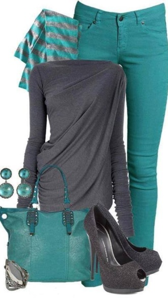 bag dress jeans teal skinny jeans