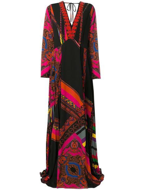 ETRO dress maxi dress maxi women spandex black silk
