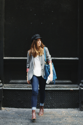 orchid grey blogger jacket top jeans shoes hat bag grey blazer
