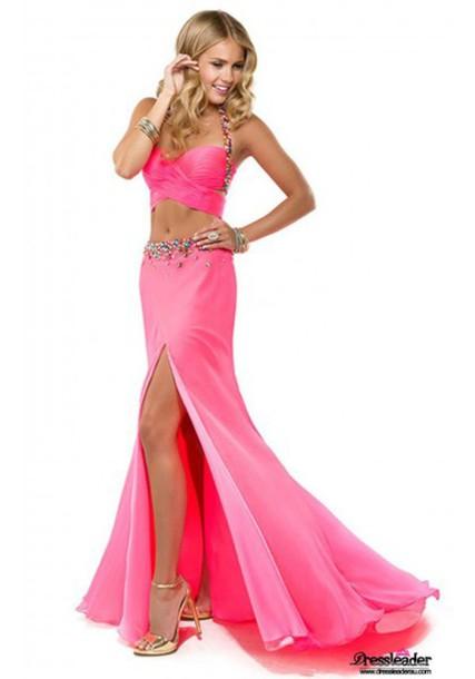 dress pink prom dress halter dress two piece prom dresses beadding high slit dress mermaid. Black Bedroom Furniture Sets. Home Design Ideas