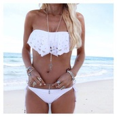 swimwear,bikini,white,tan,beach,babe,flowy,cut-out,loose,top,bottoms,mix match,inspired,tumblr,boho,instagram,summer,blonde hair,long hair,whrite,fashion,jewels,girly,bandeau,white bikini,bandeau bikini,white bandeau bikini