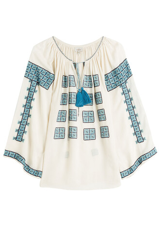 blouse tunic embroidered multicolor top