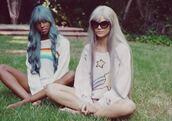 sweater,stars,rainbows,silver hair,blue hair,white,rainbow,clothes,kawaii,pastel,pastel hair,cute