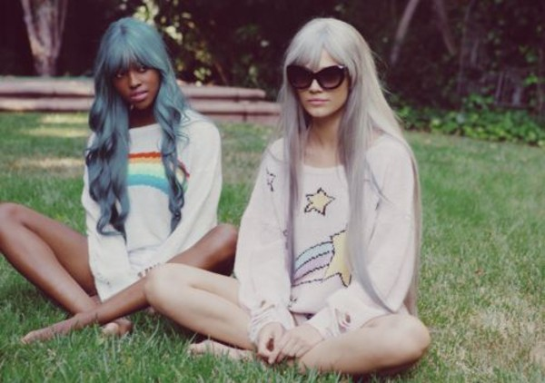 sweater stars rainbows sweater silver hair blue hair white rainbow clothes clothes kawaii pastel pastel hair cute