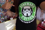 t-shirt,starbucks coffee,star wars,cool,black,shirt,tumblr,coffee,clone trooper,stormtrooper