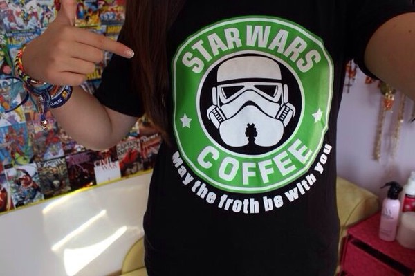 t-shirt starbucks coffee star wars cool black shirt tumblr star wars coffee clone trooper stormtrooper