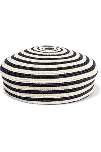 beret cotton blue cream hat