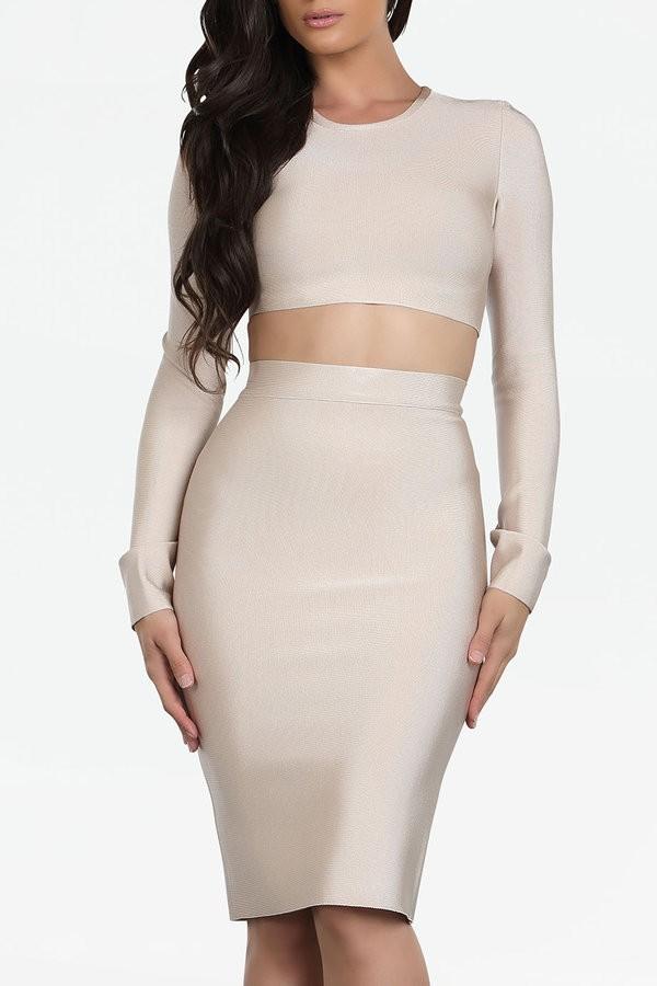Malene nude 2 piece bandage dress