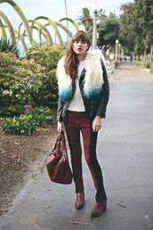 natalie off duty,blogger,skinny pants,backpack,faux fur,leather jacket,70s style,burgundy,jacket,pants,shoes,sunglasses,jewels