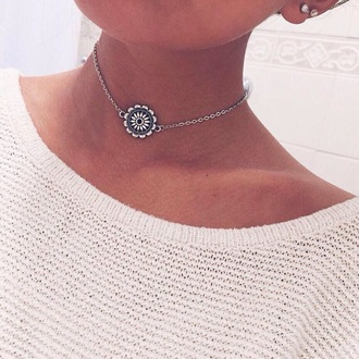 jewels necklace floral flowers choker necklace silver silver necklace blue