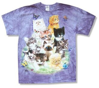 shirt tie dye pastel fairy kei kawaii cute purple cats butterfly 90s style grunge vintage