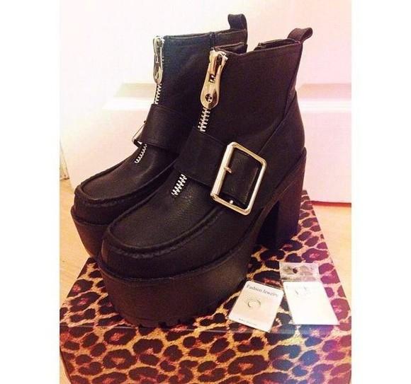 zipper boots black platform shoes platform boots buckle boots buckles zip ankle boots ankle boots