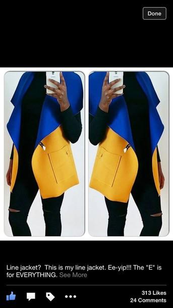 jacket gold royal blue