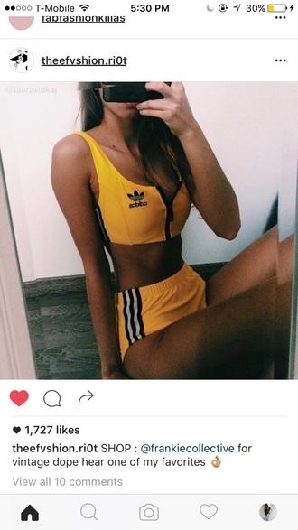 swimwear black vintage sexy adidas bikini yellow pretty summer