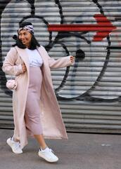 mimi & chichi blog,blogger,coat,shirt,scarf,skirt,bag,shoes,pink coat,pink skirt,spring outfits,sneakers