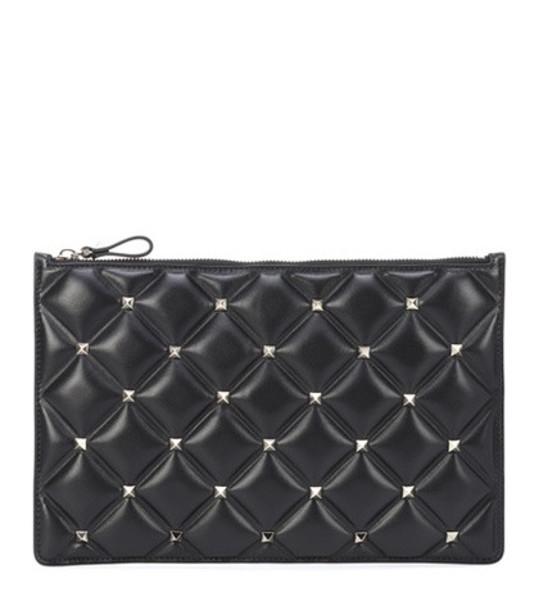 Valentino Garavani Candystud leather clutch in black