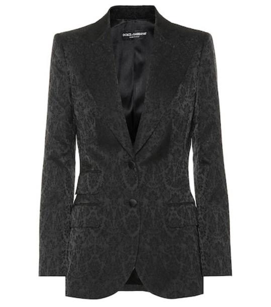 Dolce & Gabbana Satin jacquard blazer in black