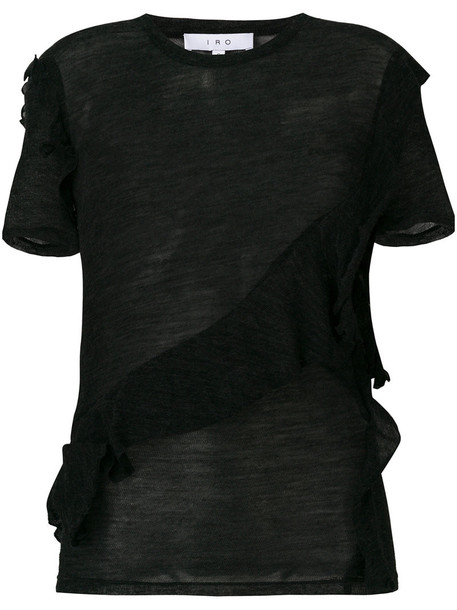 Iro blouse women black wool top