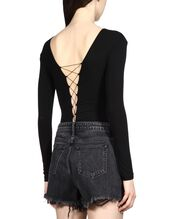 underwear,designer,black bodysuit,bodysuit,criss cross,criss cross back,alexander wang,lace up