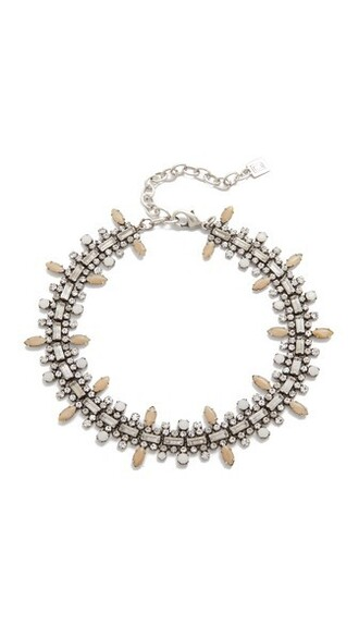 clear necklace silver nude white jewels