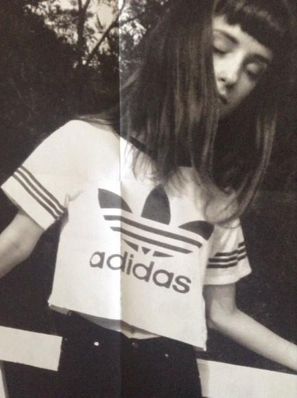 crop tops black t-shirt white adidas casual