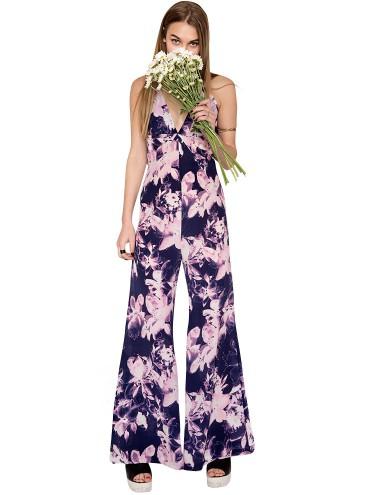 Shakuhachi Lavender Jumpsuit - Floral Rompers - $328