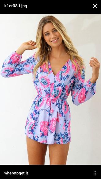 romper pink purple blue pattern cute long sleeves girly need